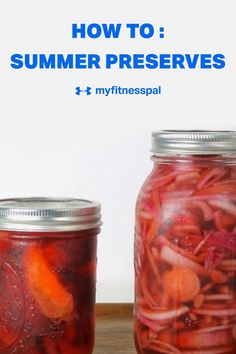 How to pickle and preserve your home garden summer fruits and summer vegetables. Preserving fruit and making homemade jam or homemade jelly is easier than you think! Pickling onions or pickling peaches or just regular homemade pickles is even easier. Here's a step by step guide to pickling and a step by step guide to canning or preserving. Fermenting your veggies and fruit can help with your gut-health! #MyFitnesspal #pickling #homemadepreserves #Homemadejam #fermenting #homemaderelish Homemade Jelly, Homemade Pickles, Summer Fruit, Summer Salads, Healthy Eating Tips, Healthy Cooking, Fruits And Veggies, Vegetables, Fruit Preserves