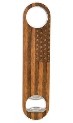 American Flag Bottle Opener | For our service members, veterans, and everyday patriots - we've etched the American flag onto a piece of genuine Mahogany.