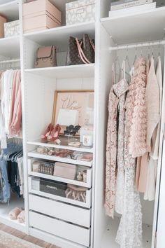 Walk In Closet Ikea, Organizing Walk In Closet, Apartment Closet Organization, Ikea Pax Closet, Ikea Closet Organizer, Walk In Closet Design, White Closet, Wardrobe Closet, Closet Designs