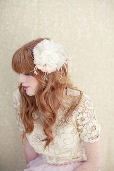 Bridal hair flower, silk hair flower, vintage millinery, wedding headpiece, bridal hair piece, blush silk flower, Roxie Ships in 1 Month $148.00