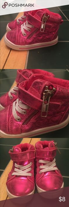 Infant High top sneakers Bright metallic pink high tops with quilted hearts on side and velcro fastener. Laces and zipper are just for looks, they are not functional. Like new on top, bottoms have normal wear for baby shoes. Garanimals Shoes Sneakers