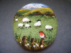 Handmade needle felted brooch/Gift  The Spring Robin   by Tracey Dunn