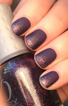Matte meets glitter in this fall nail desgin by Shelby's Swatches. The juxtaposition between the eggplant matte finish and chunky glitter makes this a statement nail look.