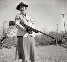 "January 5, 1938. Westmoreland Hills, Maryland. ""Mrs. Albert F. Walker of this town has been declared 1937 women's skeet shooting champion of the country by the National Skeet Shooting Association. The Association has released the averages on which the ratings were based, but one day last year at the Kenwood skeet club, Mrs. Walker set the women's record fall with 99x100 (skeet for 99 birds out of a possible 100)."