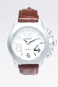 White Dial with Brown Band Watch