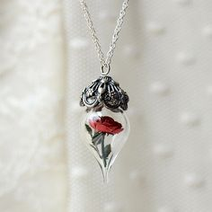 red rose Flower Tiny Terrarium Necklace beauty and the beast glass jewelry sterling silver glass vial barajou no kiss kaede