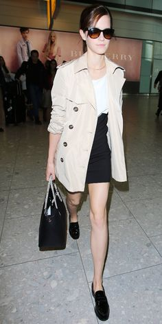 Emma Watson's Simply Chic Airport Look via @WhoWhatWear