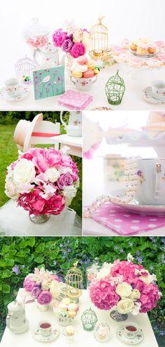 #pink #magenta #teaparty #soiree #centrepiece #stylemepretty @Style Me Pretty @Fleur de Lis Events @Sara Rad