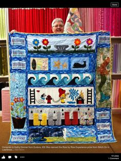 Kansas Rows Row By Row 2016, Row Row Row, The Row, Row By Row Experience, Nautical Quilt, Landscape Quilts, Summer Sky, Quilt Making, Baby Quilts