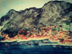 """Lolana """"Kotor bay under mount Lovcen, Montenegro"""" watercolour and ink  Private collection (one of my earliest works)  #landscape. #seascape #Kotor #lovcen #Montenegro #art #Lolana #lolanaart #pleinair  #watercolor #aquarelle #arteverywhere"""