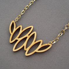 Laser Cut Wood Necklace Flora / Leaf Necklace / Statement Necklace / Rustic Wedding Jewelry