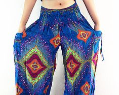 PLUS SIZE XXL Women Yoga Pants Aladdin Pants Boho Pants Gypsy | Etsy Gypsy Pants, Hippie Pants, Boho Pants, Dress Pants, Harem Pants, Wide Leg Yoga Pants, Thai Pants, Aladdin Pants, Blue Trousers
