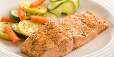 Herb Baked Salmon with Lemon Juice, Olive Oil, Garlic, Salmon Fillets. Healthy Salmon Recipes, Seafood Recipes, Fish Recipes, Cooking Recipes, Pampered Chef, Pumpkin Vegetable, Baked Scallops, Shrimp And Vegetables, Garlic Salmon