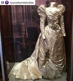 Wedding gown made by the House of Worth, Paris, 1897 for Isabel Anderson, recently shown at The Society of the Cincinnati at Anderson House, from the Larz Anderson Auto Museum, Brookline, Mass. Image courtesy of Katherine Hill Winters.