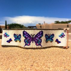 Butterflies Bead Loom Bracelet Bohemian Boho by PuebloAndCo