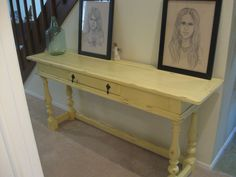 VTG hall table chalk painted yellow dark waxed lightly distressed. Local P/U  #Hekman #50s70s