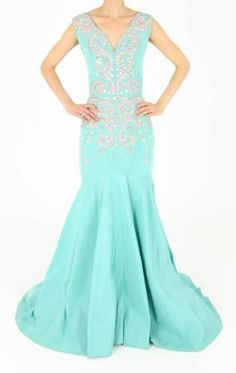 Oscar de la Renta Seafoam, Pink, & Silver Beaded Mermaid Gown PF13 NEW $9596