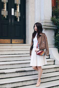 Japanese Fashion Blogger,MizuhoK,OOTD,ZARA-Biker jacket,faux leather pleated skirt,OLD Knit tank,Choies-clear heels pumps,Zaful-multicolor crossbody,feminine style