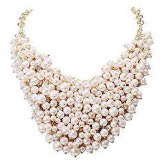 White Beads Cluster Bib Necklace Fashion Statement Chunky Jewelry