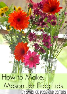 "DIY: How to Make: Mason Jar Frog Lids-TUTORIAL from ""Smashed Peas and Carrots"".  The ""Frog Lids"" allow Mason Jars to be cleverly used for floral arrangements!!!"