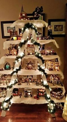 Use an Old Ladder & a few Boards to make a Christmas Village.these are the BEST Homemade Christmas Deco Use an Old Ladder & a few Boards to make a Christmas Village.these are the BEST Homemade Christmas Decorating & Craft ideas! Diy Christmas Decorations, Christmas Projects, Holiday Crafts, Christmas Ornaments, Christmas Trees, House Decorations, Decoration Crafts, Christmas Mantles, Christmas Decorating Ideas