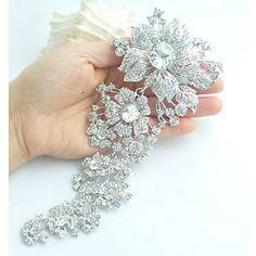 Wedding+Accessories+Silver-tone+Clear+Rhinestone+Crystal+Bridal+Brooch+Wedding+Deco+Orchid+Flower+Brooch+Bridal+Bouquet+–+USD+$+18.95