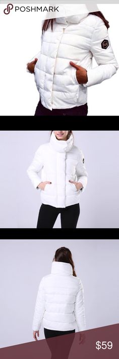 ❄️White Down Cotton Puffer Jacket❄️ Super warm and cozy white down puffer jacket! Quilted, zip front with snaps closure, stand up collar, down filling, rain and snow resistant outer! Perfect for your winter wardrobe! ❤️❄️☃ Boutique Jackets & Coats Puffers