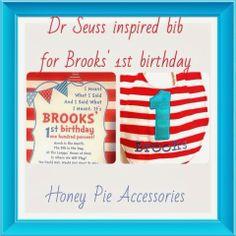 Dr. Seuss inspired baby bib. Handmade from Honey Pie Accessories. #1stbirthday