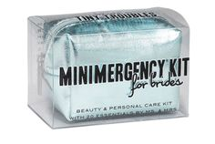 Minimergency® Kit for Brides by Ms. & Mrs. is stress-relief in the palm of the bride's hand. This kit is chock-full of 20 (yes, 20!) little essentials to save the big day, including extra wedding bands, antacid, and the most compact facial and blotting tissues you've ever seen. Now if only we could fit something in there to help with the mother-in-law. Choose from silver, gold, aquamarine, or pink. Contains 20 must-haves: hairspray, clear nail polish, nail polish remover, emery boa...