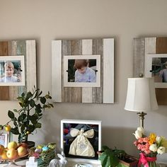 Triple white & sea mist washed Reclaimed Wood Picture Frame - three 4 x 6 pictures Wedding Picture Frames, Collage Picture Frames, Picture Frame Sets, Reclaimed Wood Picture Frames, Picture On Wood, 10 Picture, Plexiglass, Beach Frame, Creation Deco