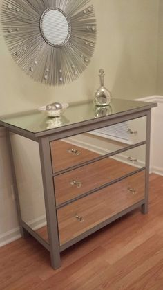 Mirrored Dresser Silver, Upcycled Ikea 3 Drawer Mirror Dresser by MirroredJewels on Etsy https://www.etsy.com/listing/203434465/mirrored-dresser-silver-upcycled-ikea-3