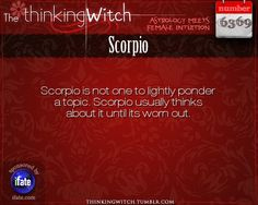 "Scorpio 6369: Click on The Thinking Witch for new facts about Scorpio.Have you seen the best ""love horoscopes"" on the web? :)"