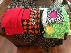 10+ different rat hammocks and cozies, with step by step instructions/pictures. Link under thr video.