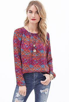 Pleated Tribal Print Blouse | FOREVER21 - 2000120938 I like the colors and print of this top.
