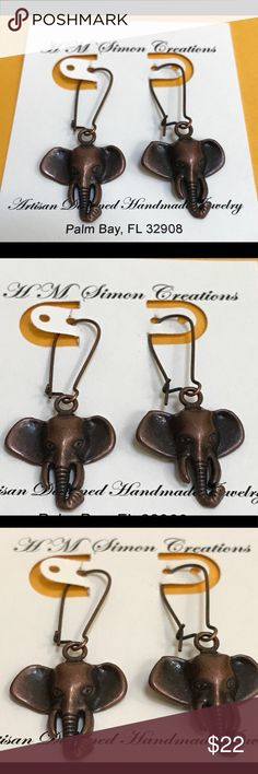 """Antique Copper 🐘 Elephant 🐘 Earrings A-5-53 Cute 1-7/8"""" dangle earrings from top of wire to the tip of the elephants 🐘 trunk.  Both wire and elephant is antique copper in color. HM Simon Jewelry Earrings"""