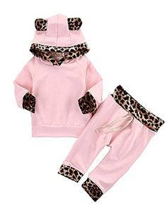 c63c365bcc784 Discounted 2Pcs Cute Newborn Baby Girls Pink Leopard Hoodie T-shirt Top +  Pants Outfits