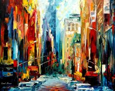 NEW YORK - EARLY MORNING - PALETTE KNIFE Oil Painting On Canvas By Leonid Afremov http://afremov.com/NEW-YORK-EARLY-MORNING-PALETTE-KNIFE-Oil-Painting-On-Canvas-By-Leonid-Afremov-Size-24-x30.html?bid=1&partner=20921&utm_medium=/vpin&utm_campaign=v-ADD-YOUR&utm_source=s-vpin