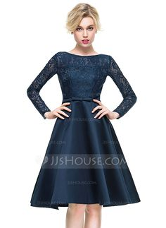 A-Line/Princess Scoop Neck Knee-Length Bow(s) Zipper Up Covered Button Sleeves Long Sleeves No 2016 Dark Navy Spring Summer Fall General Plus Satin Lace Cocktail Dress
