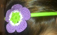 diadema con flor, Crochet, Accesorios