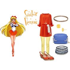 """Sailor Venus"" by kirstylumos on Polyvore. Sailor Moon inspired outfit."