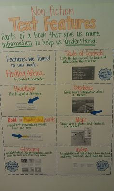 "Nonfiction Text Features - Anchor Chart - ""Finding Africa"" by Jamie A. Schroeder"