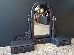 Standing Mirror, Dry Brushing, Refurbished Furniture, Don't Forget, Embellishments, Drawers, Shabby Chic, Bronze, Hand Painted