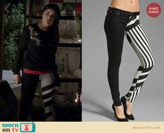 Aria's black and white stripe pattern jeans and pearl embellished top on Pretty Little Liars. Outfit Details: http://wornontv.net/16911