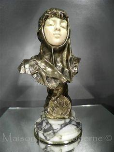 1900 10 Emmanuel Villanis Buste Bronze ART Nouveau