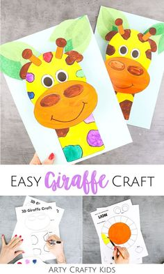 Looking for easy giraffe crafts for kids to make at home or in the classroom? These 3D paper giraffe crafts for kids are fun + simple for children to make, whether they're in preschool, kindergarten, or elementary school. Get printable craft templates + videos for these 3D giraffe crafts for kids + other easy jungle animal crafts for kids here! Easy Giraffe Kids Crafts | Easy Giraffe Crafts for Preschoolers | Zoo Animal Crafts for Kids #GiraffeCrafts #AnimalCrafts #ArtyCraftyKids