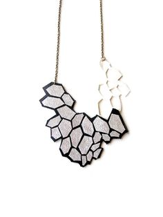 Metallic Silver Statement Necklace, Geometric Necklace, Leather Modern Hexagon Bib Necklace, Faceted Cells