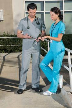 EDS Signature new summer colors. Men's Fit and Missy Fit Styles. Shown in Grey and Turquoise. #nurses #medical #uniforms #dickies