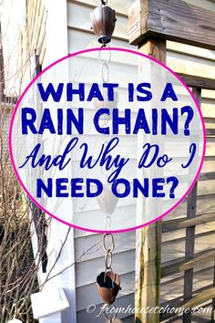 Love these rain chain garden ideas! They look so much better than a standard downspout but still provide drainage. #RainChainIdeas #CopperRainChains