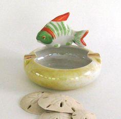 Vintage Lusterware Fish Porcelain ashtray