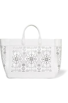 ALAÏA Laser-Cut Leather Tote. #alaïa #bags #leather #hand bags #tote